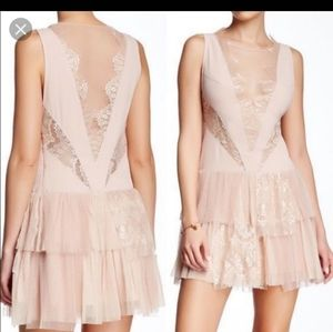 Free People black dove lace sheer cut out dress 10